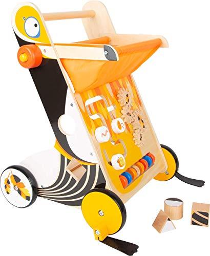Lauflernwagen aus Holz ab 1 Jahr   Baby Lauflernhilfe mit Bremse und gummierten Rädern   Gehhilfe Spielzeug zum laufen lernen mit Spiel und Lern-spaß für Kinder ab 12 Monate   Tukan