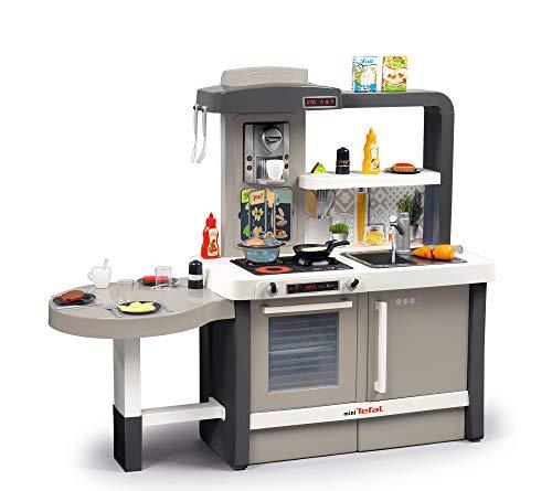 Smoby 312300 Tefal Evo Küche mitwachsende Kinderküche mit Spüle, Herd, Essecke, viel Zubehör, Wasserhahn mit Wasser-Pump-Funktion, magischer Panncake-Pfanne