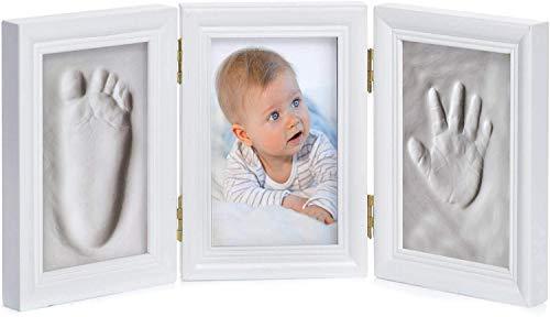Baby Bilderrahmen Gipsabdruck-Set - Fotorahmen Gips für Hand-Abdruck Fuß-Abdruck & Fotos; 3-tlg weiß (3-teilig weiß)