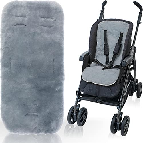 100% Merino - Lammfell Auflage für Buggy und Kinderwagen / 5-Punkte-Gurtsytem geeignet 12-36 Monate