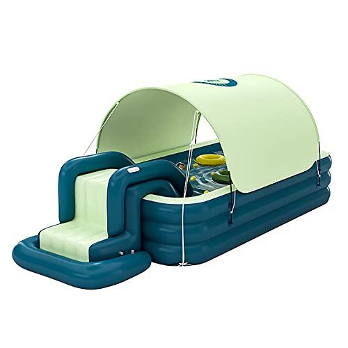 MINGJ Planschbecken mit Rutsche, Familienpool mit Sonnenschirmen, Automatisch aufblasbarer Pool für Erwachsene und Kinder Außengarten großes Planschbecken,Green-260cm