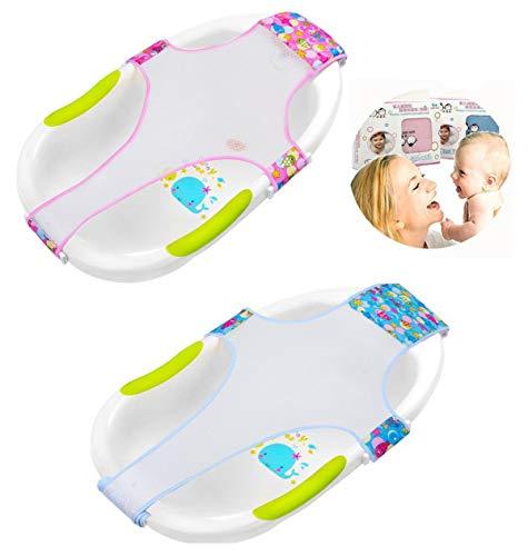 Biluer 2PCS Badewannensitz Baby Antirutsch Baby Neugeborene Dusche Mesh kreuzförmig Baby Badewanne Unterstützung Für 0–2 Jahren Neugeborenen oder Kleinkind,Rot and Blau