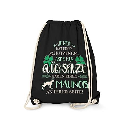 Fashionalarm Turnbeutel - Schutzengel - Malinois | Fun Rucksack Sport-Beutel Spruch & Motiv Geschenk-Idee für Frauchen Hunde-Rasse Lustig, Schwarz One Size
