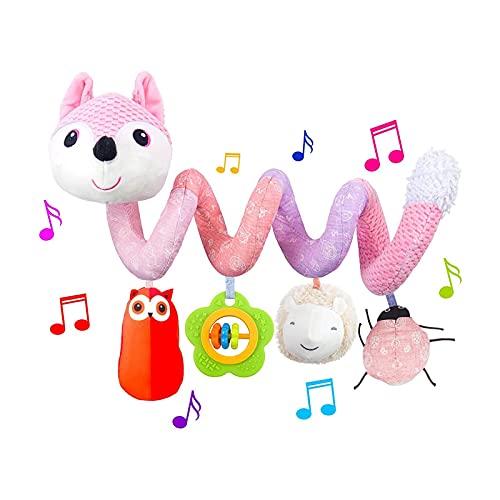 Kinderwagenkette/Mobile-Kette mit niedlichen Anhänger-Hängende Spirale Stofftiere für Kinderbett Autositz Figuren zum flexiblen Aufhängen an Kinderwagen,Babyschale,Bettchen,Wiege,Spielbogen für Babys