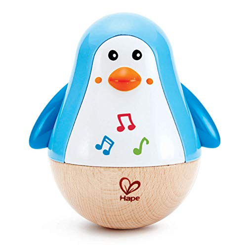Hape Stehauf-Pinguin | Farbiger Stehauf-Pinguin mit Melodie, Stehauf-Spielzeug für Kinder im Alter von 6 Monaten und älter