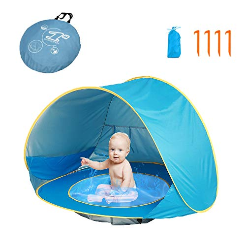 HUSAN Baby Strandzelt, tragbare leichte Pop Up Baby Reisezelt mit mini Pool UPF 50+ UV-Schutz Sonnenschutz Shelter für Outdoor schließen Tragetasche mit ein