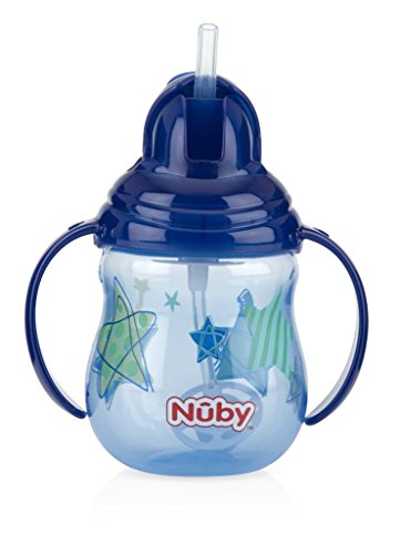Nuby Designer Series No Spill Flip N' Sip, Becher mit zwei Griffen und beschwertem Strohhalm, 255 ml. Menge: 1. Farben können variieren.