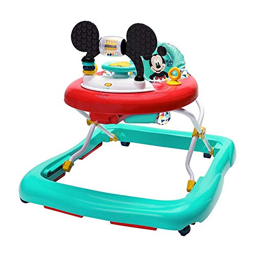 Bright Starts, Disney Baby, Micky Maus Lauflernhilfe mit abnehmbarer Spielstation, Musik, stabilem Rahmen, rutschfesten Füßen, 3 Höheneinstellungen und waschbarem Sitz