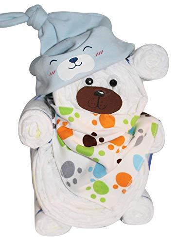 Windelgeschenk/Windeltorte/Windelbär mit Beanie + Dreieckstuch Junge Baby - Windelgeschenk Junge - tolles WINDELGESCHENK zur Geburt - babyshower geschenk (blau Gr. 2)
