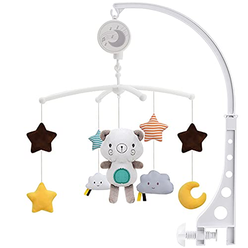 SaiXuan Baby Musical Cot Mobile, Musik Mobile Baby Design Universal Nursery Baby Cot Bed Mobile Cute Music Activity Crib Stroller Soft Toys for Newborn Infant Toddler