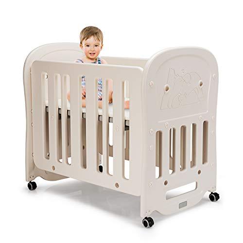 GOPLUS 3 in 1 Babybett & Babywiege & Laufstall, Kinderbett mit Schaukelfunktion, mit Matratze, auf Abnehmbaren Rollen, aus Kunststoff, bis 25kg Belastbar, Beige