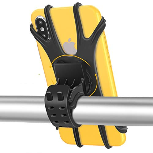 Fahrrad Handyhalterung Handyhalter Motorrad, Face ID/Touch ID Kompatibel, Universal 360° Drehbar Abnehmbare Anti-Shake Silikon Handyhalterung Fahrrad Motorrad Handy Halterung Für 4-6,5 Zoll Handys