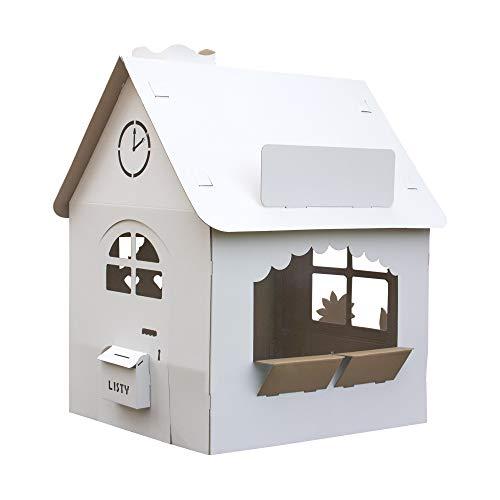 Papphaus | EcoEdu House | Das große Kartonhaus für Kinder | Karton Spielhaus, zum Spielen und Malen | Das große zusammenlegbare Kinderhaus ist ein Gemeinsames und Kreatives Kinderspiel mit den Eltern