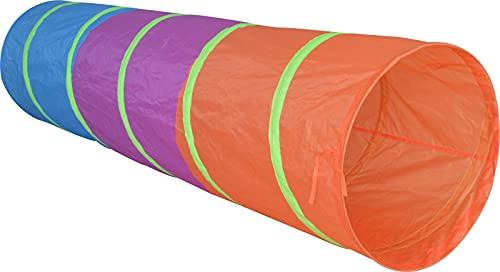 XL Spiel-Tunnel Kriechtunnel Krabbeltunnel Höhle für Kinder, 180 cm lang, Ø 48 cm, Bunte Farben, toll für Outdoor, Garten & Kinderzimmer