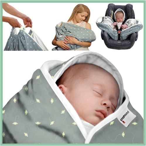 Snugglebundl Bumblebee Schmusetuch mit Griffen, Schmusetuch für Babys 0-6 Monate (Organic) (S-1)