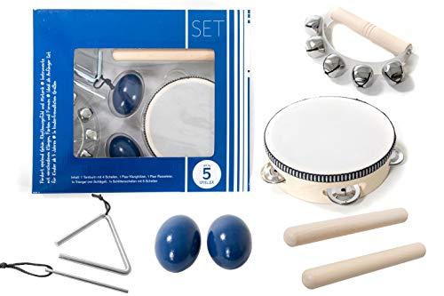 Kinder-Percussion-Set, Kinder Instrumente, 8-teilg aus Holz bestehend aus Tambourin, Triangel, Egg-Shaker u.a. - für die musikalische Früherziehung/Orff-Instrumente