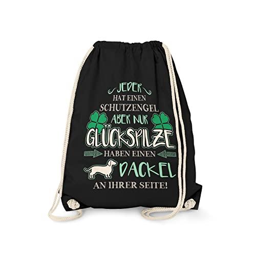 Fashionalarm Turnbeutel - Schutzengel - Dackel | Fun Rucksack Sport-Beutel Spruch & Motiv Geschenk-Idee Teckel Frauchen Hunde-Rasse Lustig, Schwarz One Size