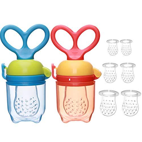 IWILCS sauger Baby, 2 Stück Fruchtsauger Baby Schnuller Beißring BPA frei Obstsauger Baby mit 3 Größen Sauger Ersatz für Obst(6pcs) Beikost, Baby Essen, Gemüse und Zahnungshilfe Baby