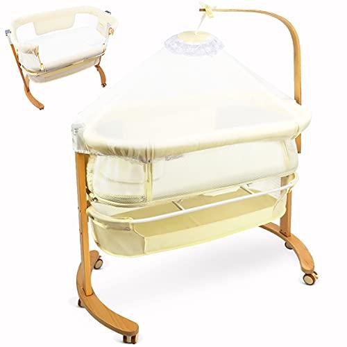 YOLEO Babybett Bewegliches Baby Beistellbett mit Matratze bis 20kg Bett im Bett mit Rollen für Baby bis 18 Monate Massivholzbett Kinderbett (Beige)