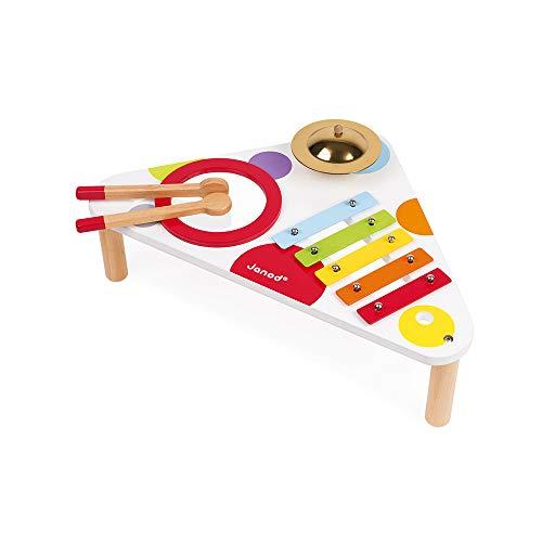 Janod - Confetti Holz-Musiktisch, Kinder-Musikinstrument, Spielzeugnachbildung und Spielzeug für musikalisches Empfinden, ab 1 Jahr, J07634