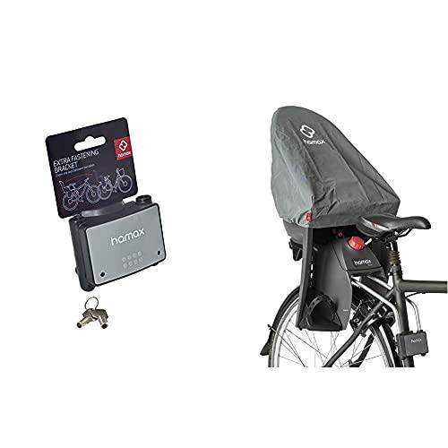 HAMAX abschließbare Rahmenhalterung Fahrradkindersitz & Regen Cover Rain Kindersitze, Grau, Einheitsgröße