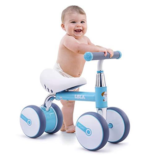 Kinder Laufrad Lauflernrad Balance 10-36 Monate ohne Pedale Kleinkind 4 Räder Reitspielzeug für 1 Jahr alte Jungen Mädchen (Blau)