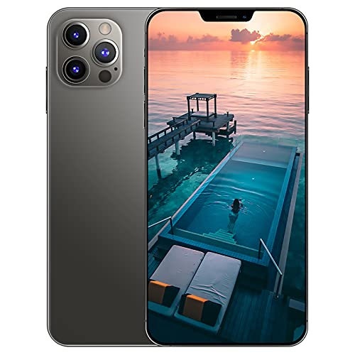 YouthRM Android 10 Smartphone Ohne Vertrag 5G I12Pro Max, 6,7 Zoll HD+1440 * 3088, 24MP+48MP, 8GB+256GB, 5000 MAh Akku, MTK6889, 10-Core(Geben Sie Eine 128G Speicherkarte),Black