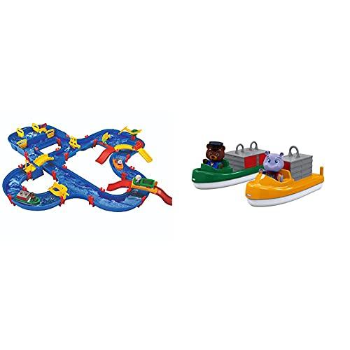 BIG Spielwarenfabrik 1650 AquaPlay - AmphieWorld - 145x156 cm große Wasserbahn, ab 3 Jahren & AquaPlay 255 Container- & Transportboot - Zubehör für AquaPlay Wasserbahnen, ab 3 Jahren