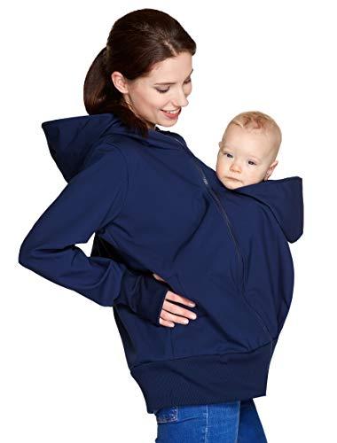 Be Mama - Maternity & Baby wear wasserdichte All-Weather 3in1 - Tragejacke & Umstandsjacke & Damenjacke in einem aus Softshell (Wassersäule: 10.000 mm), Modell: BERGAMI Softshell, dunkelblau L/XL