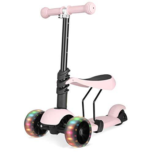 Bamny 3-in-1 Kinderroller Kinderscooter Kickboard mit Abnehmbarem Sitz und LED-Lichträdern, Einstellbarer Höhe, Roller für Kinder von 1 bis 6 Jahren(Rosa)