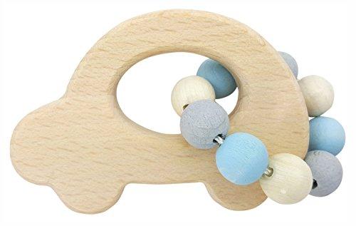 Hess 11114 - Holzspielzeug, Greifrassel Auto aus Holz, nature blau