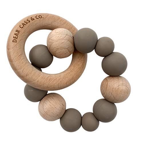 Beißring Baby Holz Dear Cass & Co - Silikon-Beißring für Baby, 100% BPA-frei, Beißspielzeug, Naturkautschuk, Natürliches weiches Silikon in Lebensmittelqualität + Community-Gruppe Mütter (Latte Brown)