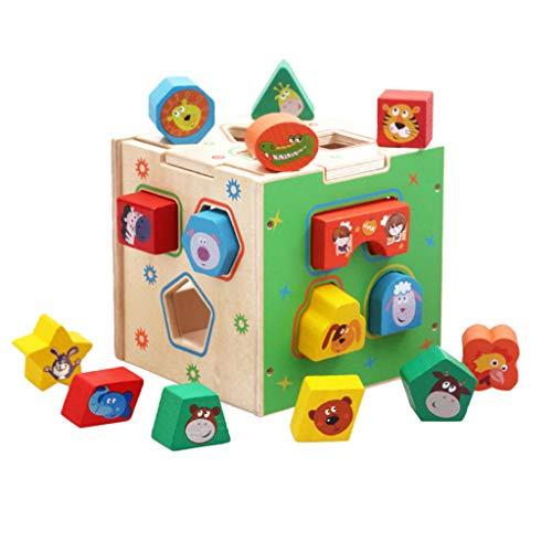F Fityle Baby Kleinkind Holzblöcke Form Sortierer Spielzeug Farbe Form Erkennungsspielzeug