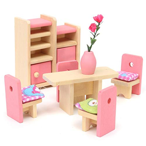 PULABO Puppenhaus-Miniatur-Möbelzubehör, Stuhl und Esstisch, Spielzeug-Set, geeignet für Kinder, Mädchen, langlebiger Service, exquisit