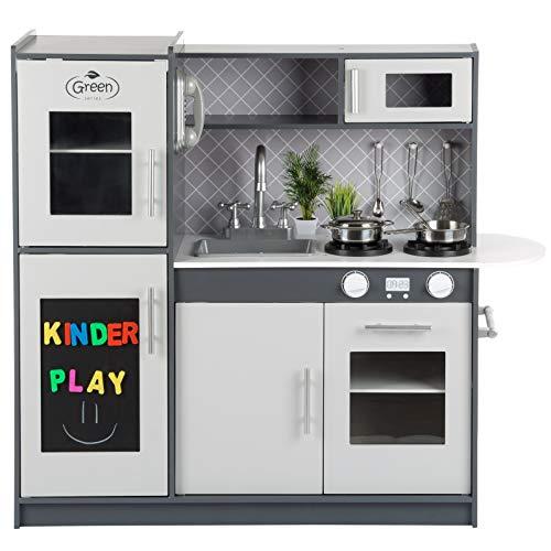 Kinderplay Große Spielküche Holz - Graue Kinderküche Holz, Kinderküche mit Licht und Sound, Spielküche 83 cm hoch, bis zur Arbeitsplatte 46 cm, GS0057
