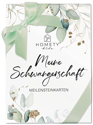 Homety® 45 Meilensteinkarten Schwangerschaft - Geschenk Schwangerschaft - Geschenk für werdende Mütter/Schwangere - Meine Schwangerschaft Grün