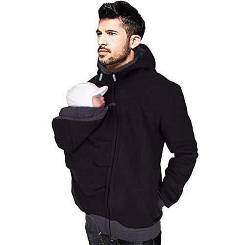 Babytrage Jacke Papa, Abnehmbare Känguru-Mantel Kapuze Herren Herbst Und Winter Sweatshirt Papa Babytrage Oberbekleidung Zip Up,Schwarz,XXL