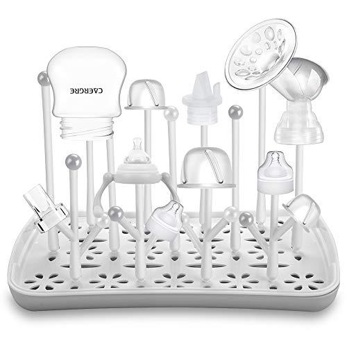 Trockenständer Babyflaschen, Abtropfgestell für Babyflaschen, Flaschen, grauSaugern, Bechern und Babyflaschen Zubehör, BPA-frei, Grau