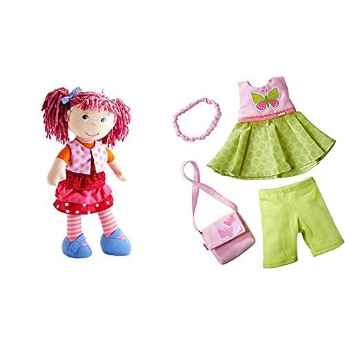 HABA 302842 - Puppe Lilli-Lou, süße Weich- und Stoffpuppe ab 18 Monaten, 30cm & Kleiderset Schmetterling, Set aus Kleid, Hose, Handtasche und Haarband, Puppenzubehör für alle 30 cm großen HABA-Puppen