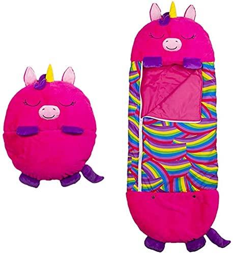 Sleeping Bag Kinderschlafsack Kissenschlafsack - Verwandeln Sie Ihr 2-in-1-Spaß-Kissen in einen Schlafsack für Reisen und Nickerchen im Freien Bestes GeschenkParent-Kind 135x50cm Rosy