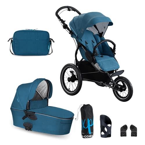 X-lander Kombikinderwagen zum Joggen 2 in 1 X-RUN Buggy Babywanne Wickeltasche Regenschutz Flaschenhalter Kompletset Buggy Gelände Sportbuggy Laufkinderwagen Jogging-Buggy Profi (Petrol blue)
