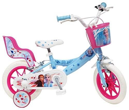 Disney Fahrrad 12'Eiskönigin 2 (Frozen II) mit 2 Bremsen, Korb vorne & Puppenhalterung hinten + 2 abnehmbare Stabilisatoren für Mädchen, Himmelblau, Weiß und Fuchsia
