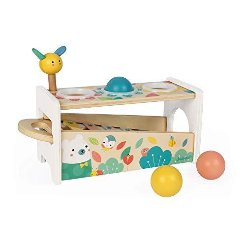Janod Tap Tap Xylo Pure Schlagspiel aus Holz - 2-in-1 Klopfbank Baby Musikinstrument, Motorikspielzeug und Lernspielzeug - mit 3 Bällen, Hammer + Xylophon - ab 1 Jahr, J05155