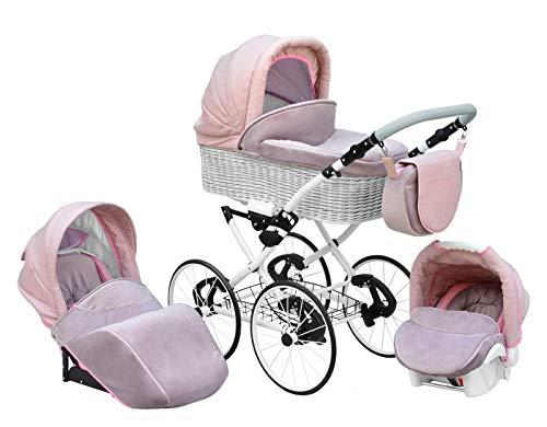 SKYLINE Klassisch Retro Stil Wicker LUX Kombi-Kinderwagen Buggy 3in1 Reise System Autositz (Isofix) (Light Pink/17'Räder)