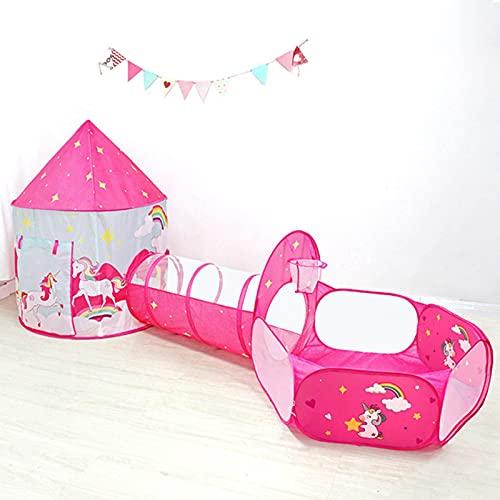 Kinder-Spielzelt für Mädchen mit Bällebad, Krabbeltunnel, Prinzessinnenzelte für Kleinkinder, Baby-Spielhaus Spielzeug, Jungen Indoor & Outdoor Spielhaus, Kindergeschenke