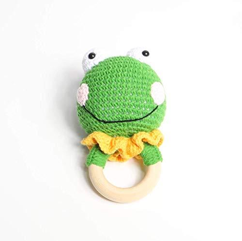 Baby Rassel in Grün - 100% Handarbeit mit Anti-Pilling Garn - Beißring für Babys - Rassel mit Tierdesign als gestrickten Frosch