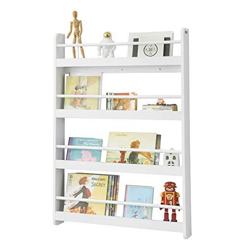 SoBuy KMB08-W Kinderregal Bücherregal für Kinder Wandregal Hängeregal Aufbewahrungsregal mit 4 Ablagen für Bücher und Deko weiß BHT ca.: 80x118x12cm