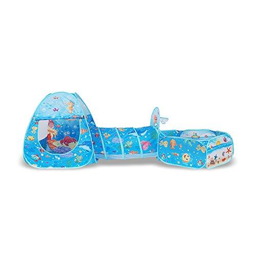 ZXQC Faltbare Baby-Laufstall 3pcs Ball-Pool-Pit-Tunnelzelt, Baby Kleinkind Spielen Haus Abnehmbarer Playpen-Zaun (COR : Ocean)