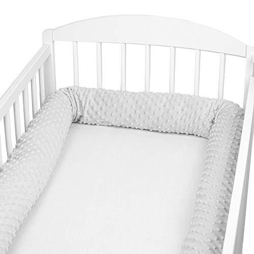 Bettschlange baby Nestchenschlange Bettrolle - Bettumrandung Babybettschlange Babybett umrandungen Babynestchen für Kinderbett (A Grau Minky, 300 cm)