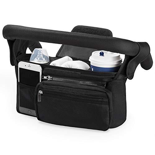Kinderwagen Organizer Universal mit Isolierten Getränkehalter/Becherhalter, Momcozy Buggy Kinderwagentasche Baby Zubehör mit Reißverschlusstasche, Schultergurt und Stauraum für Windeln& Handys